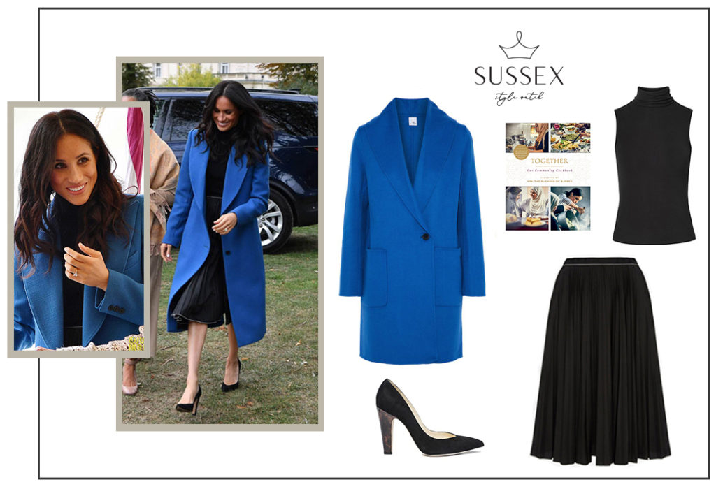 Meghan Markle Blue Smythe Coat and Misha Nonoo Pleated Skirt