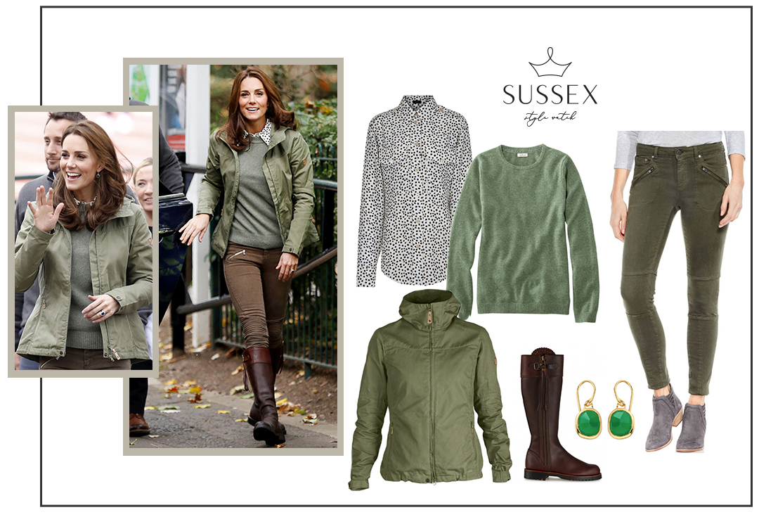 KATE MIDDLETON IN CASUAL ARMY GREEN BASICS
