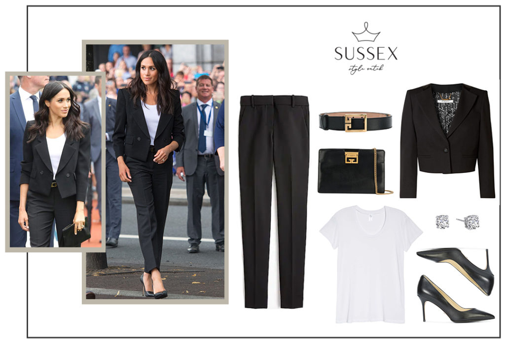 Meghan Markle wearing a tailored black Givenchy pantsuit