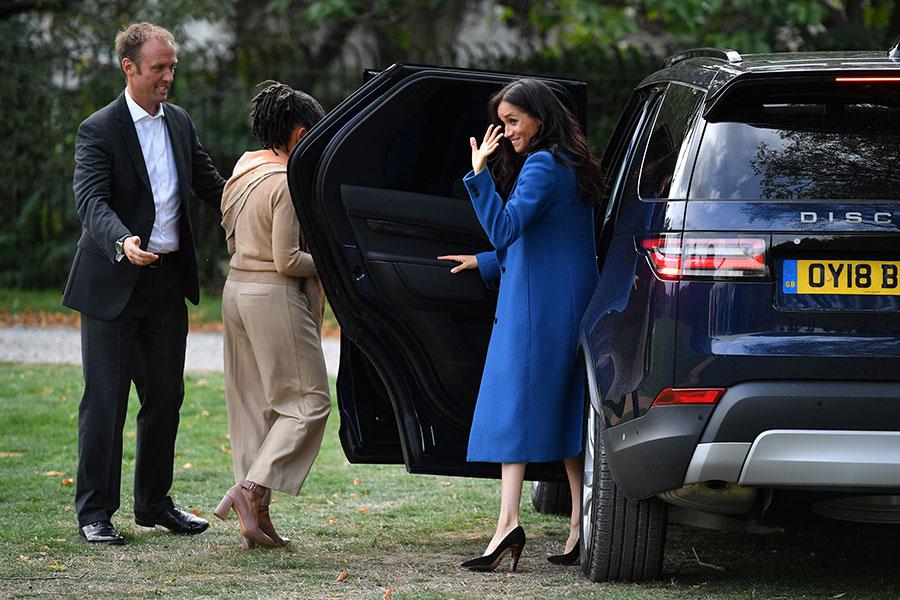 Meghan Markle in royal blue Smythe Coat at Together Cookbook Launch