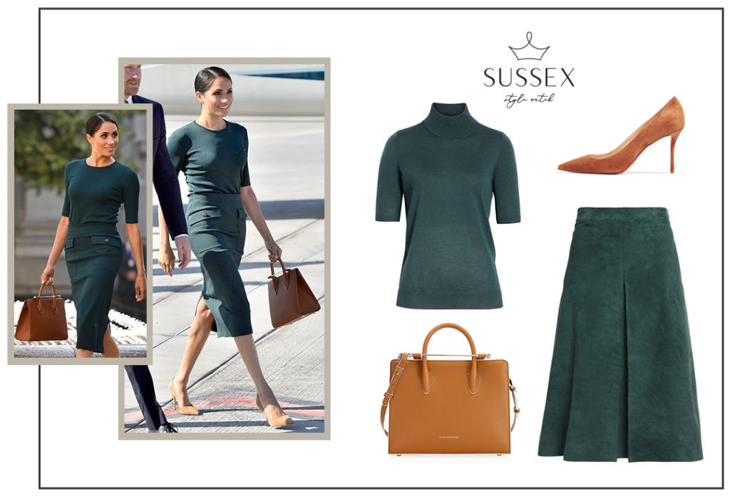 Meghan Markle in Green Givenchy Set and Cognac Accessories