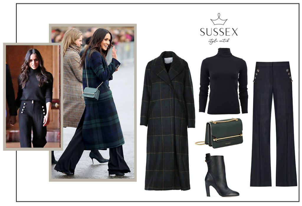Meghan Markle wears a Burberry tartan coat, Veronica Beard pants and a green Strathberry bag