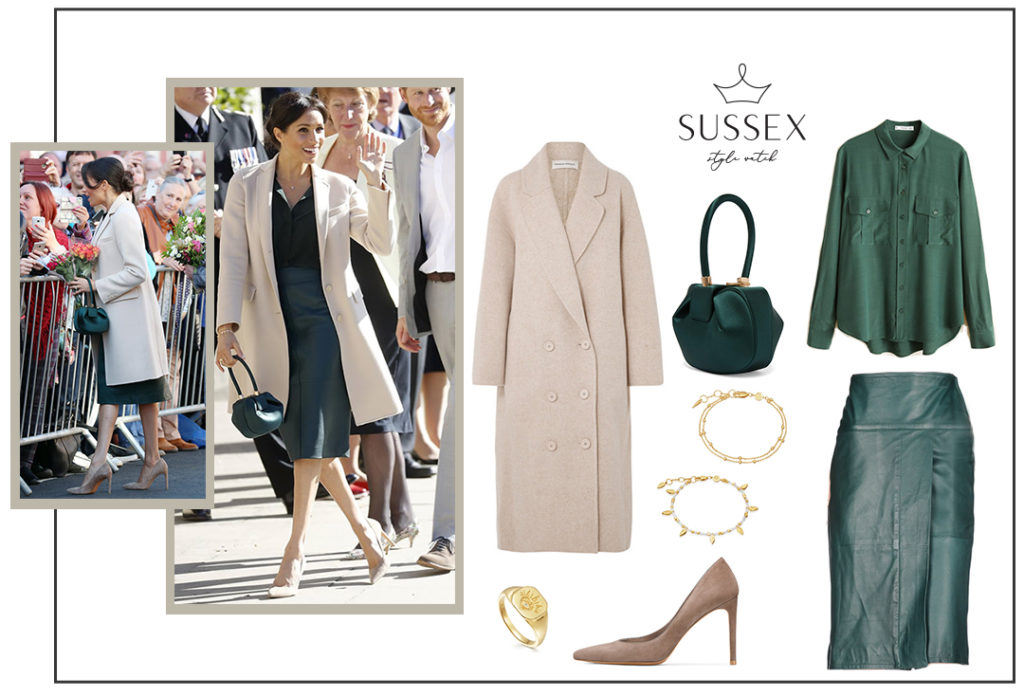 Meghan Markle in a bottle green leather skirt, beige coat and Gabriela Hearst bag