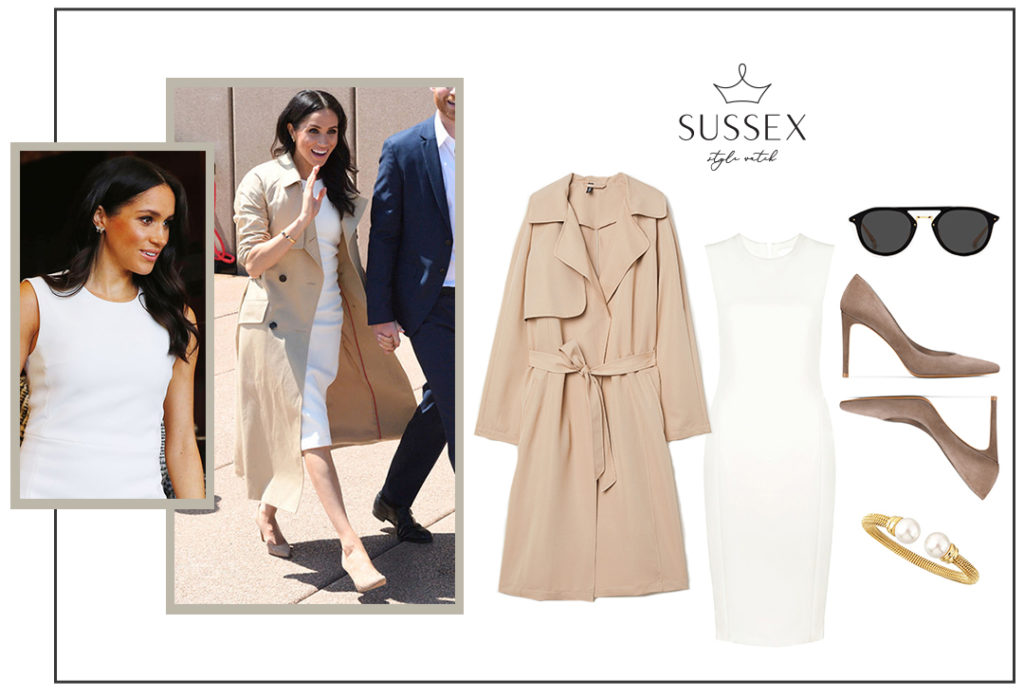 Meghan Markle in a Karen Gee Dress and Martin Grant Trench