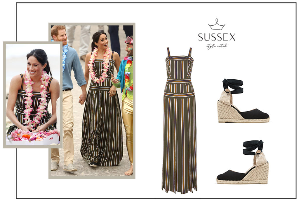 Meghan Markle in a Martin Grant Striped Maxi Dress and Castaner Espadrilles at Bondi Beach