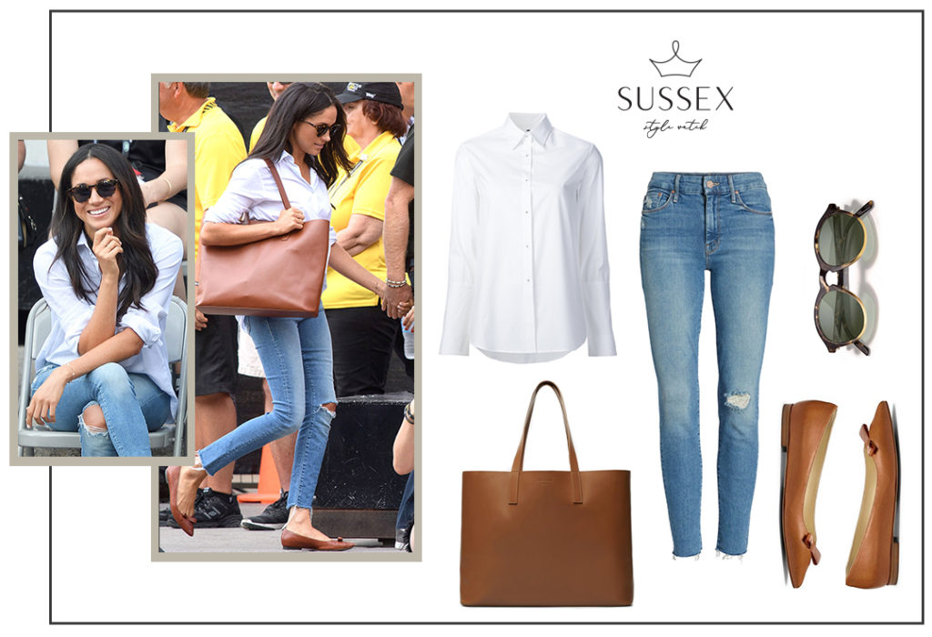 Meghan Markle in a white oxford shirt, ripped skinny jeans and cognac accessories