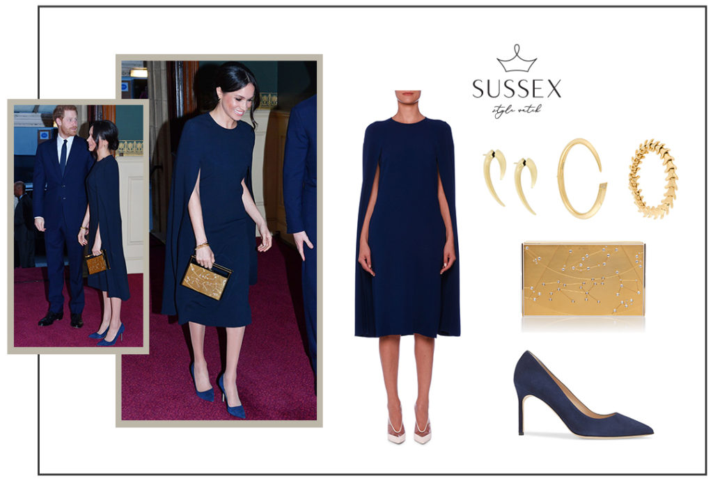 Meghan Markle wears navy Stella McCartney cape dress to Queen's Birthday Concert, April 2018