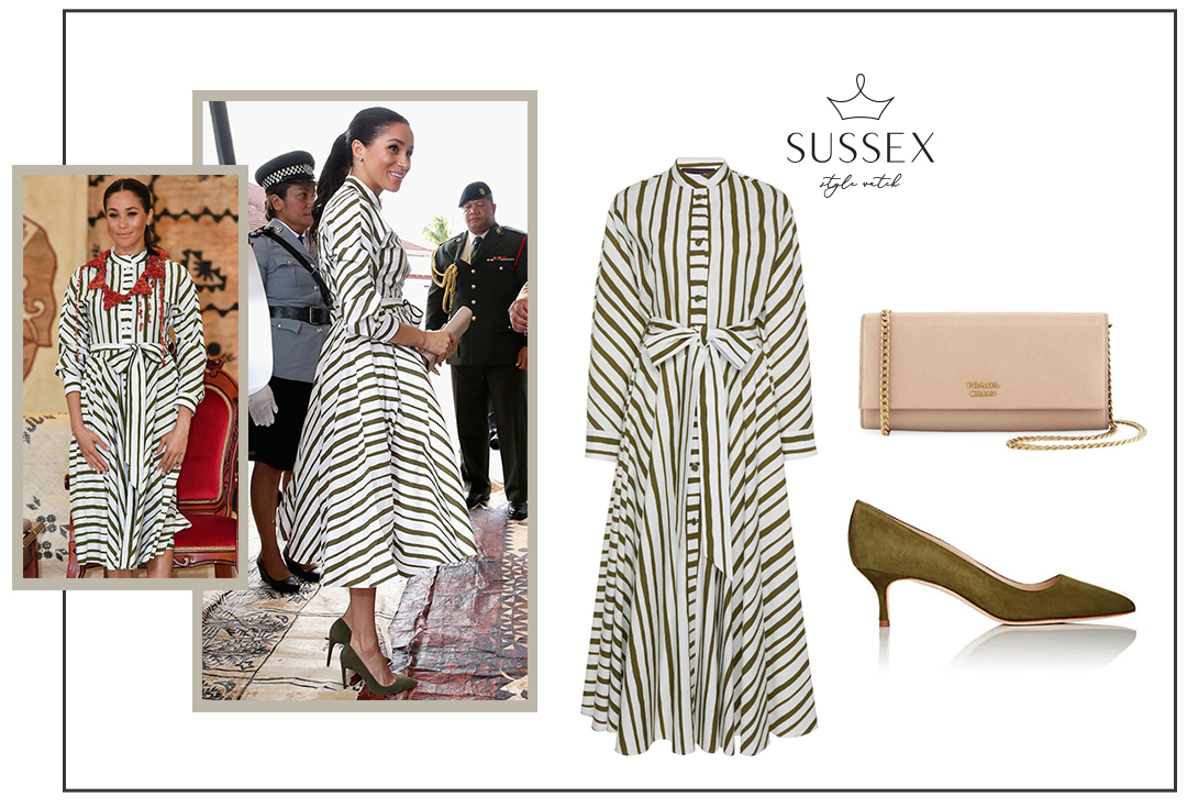 MEGHAN MARKLE WEARS A STRIPED SHIRTDRESS AND OLIVE GREEN PUMPS IN TONGA