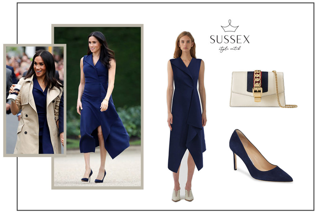 Meghan Markle, Duchess of Sussex in a Dion Lee Navy Dress and Gucci Sylvie Mini Bag