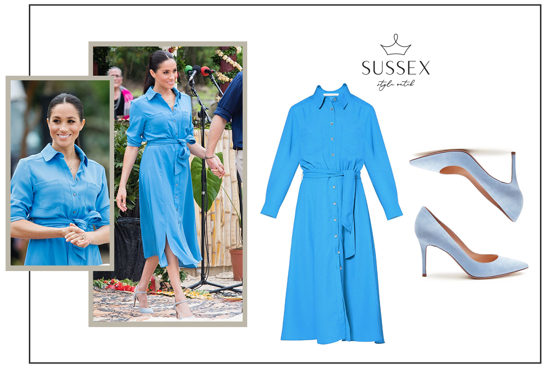 MEGHAN MARKLE WEARS BLUE VERONICA BEARD SHIRTDRESS IN TONGA
