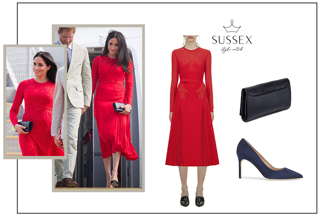 MEGHAN MARKLE WEARS A RED EMBROIDERED SELF-PORTRAIT DRESS IN TONGA