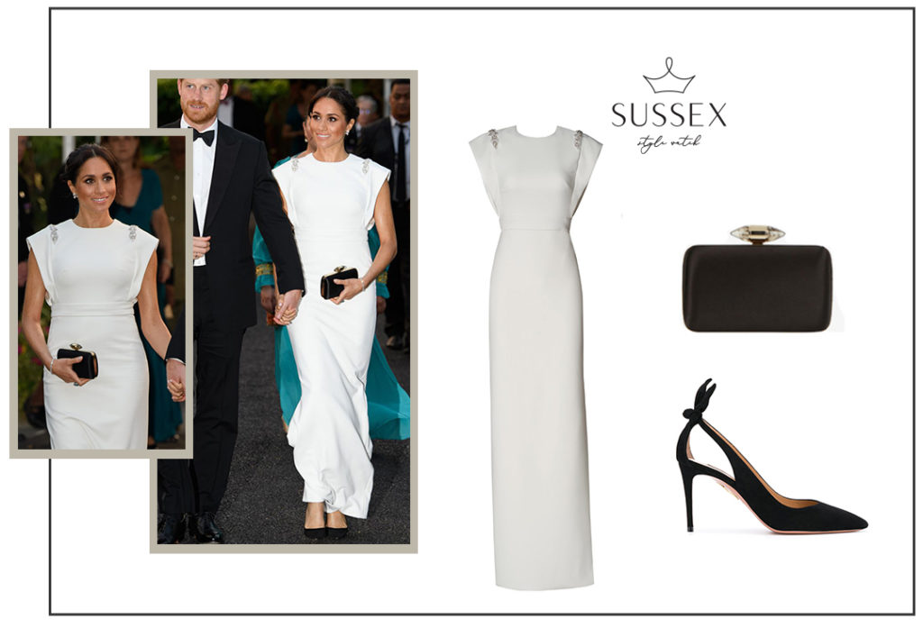 Meghan Markle wears White Theia Gown and Princess Diana's Aquamarine Ring in Tonga