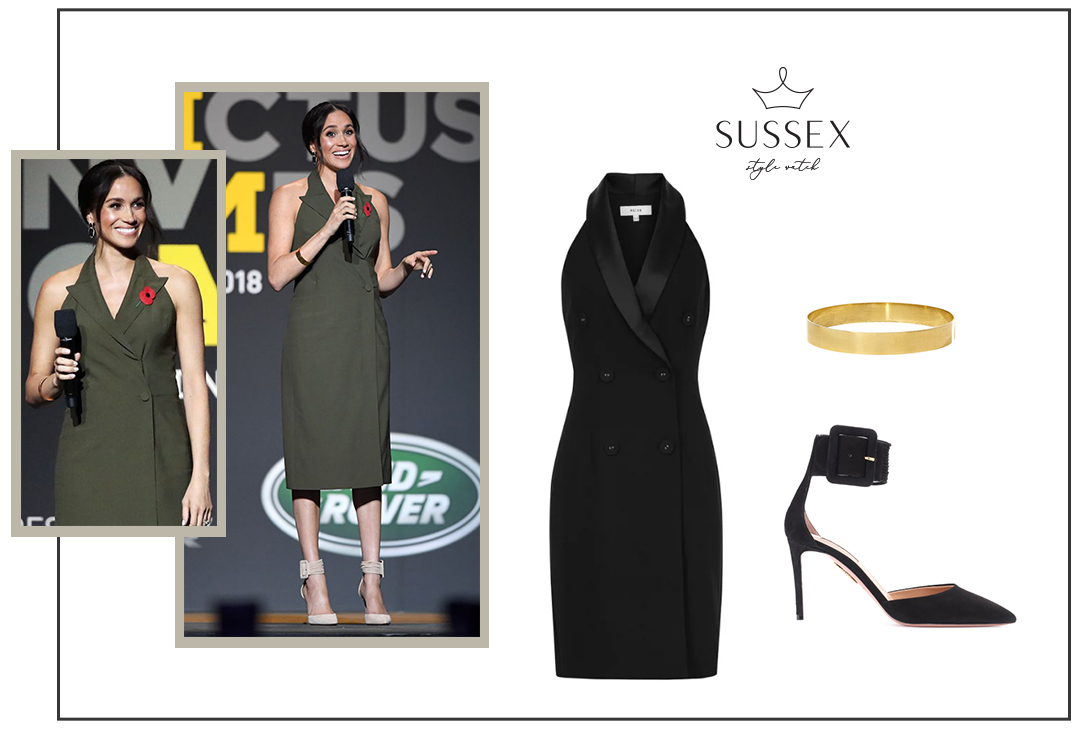 MEGHAN MARKLE WEARS OLIVE GREEN TUXEDO DRESS TO CLOSING CEREMONY OF INVICTUS GAMES