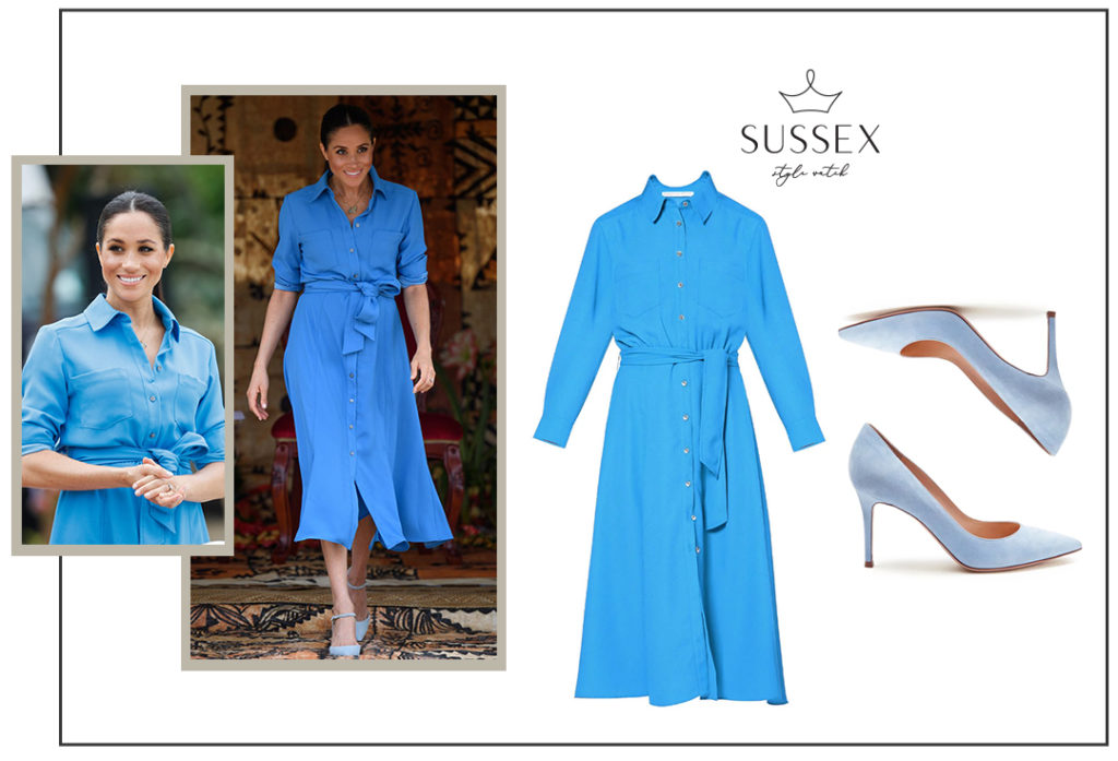 Meghan Markle wears blue Veronica Beard Cady Shirtdress in Tonga