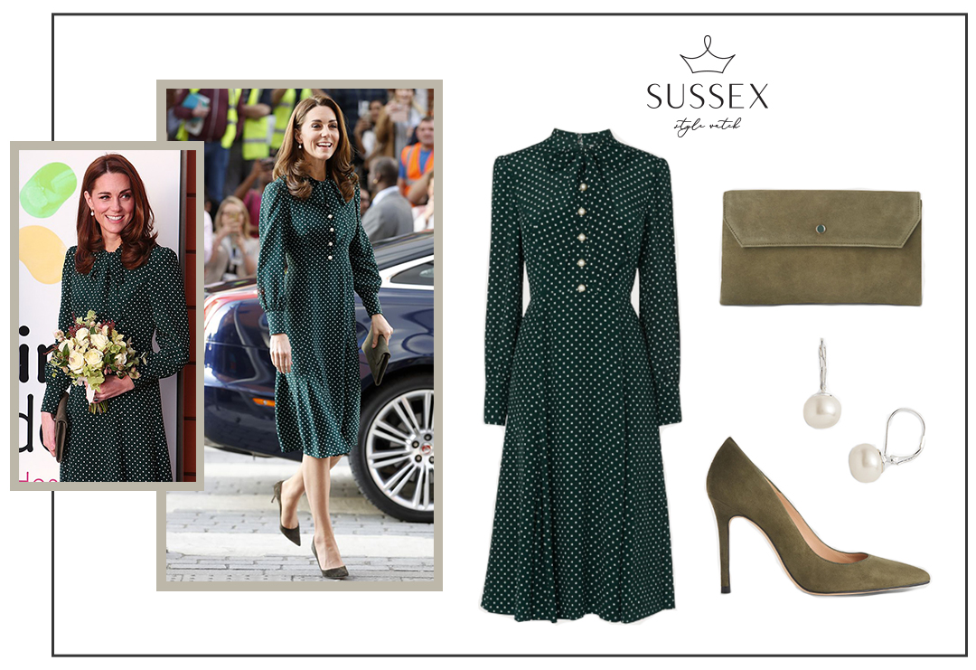 KATE MIDDLETON WEARS A GREEN POLKA DOT MIDI DRESS WHILE VISITING EVELINA LONDON CHILDREN'S HOSPITAL