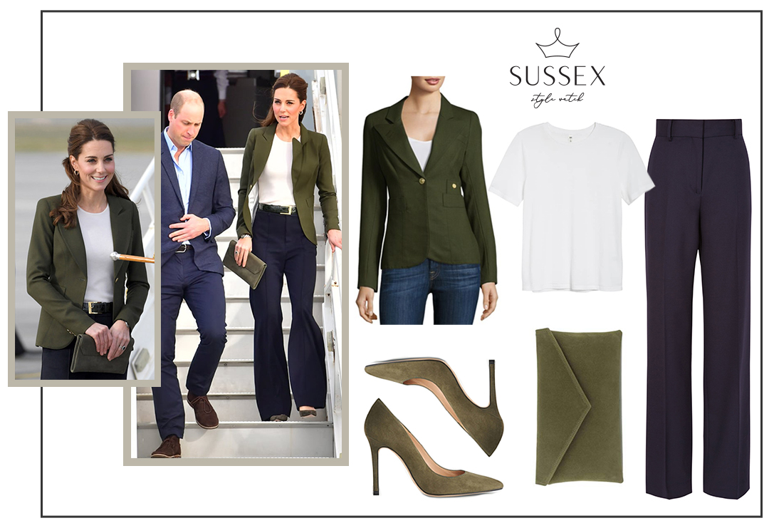 KATE MIDDLETON WEARS SMYTHE DUCHESS BLAZER IN ARMY GREEN VISITING CYPRUS