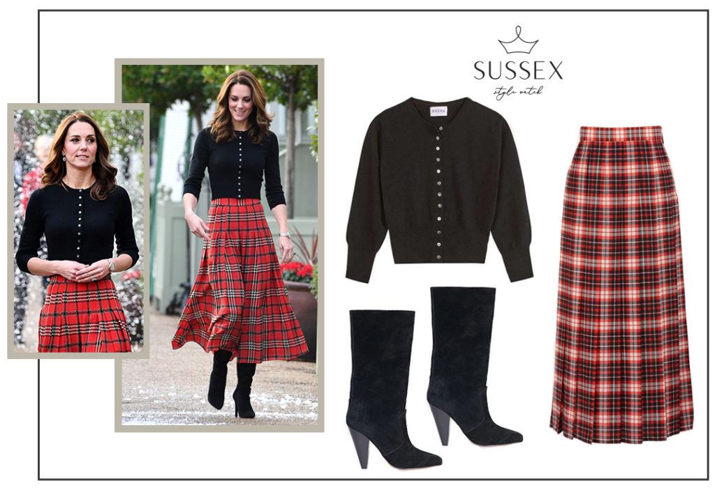 KATE MIDDLETON WEARS FESTIVE PLAID EMILIA WICKSTEAD SKIRT AT RAF CHRISTMAS PARTY
