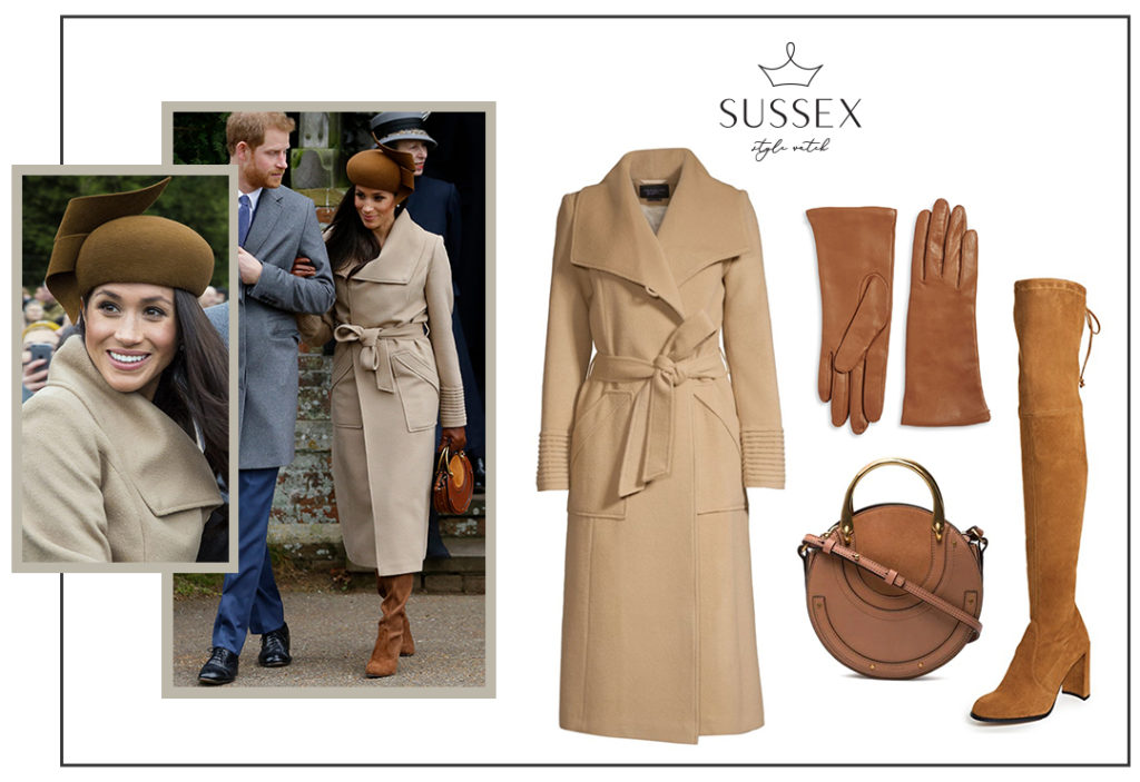 MEGHAN MARKLE WEARS BEIGE SENTALER COAT TO CHRISTMAS WITH THE QUEEN IN SANDRINGHAM