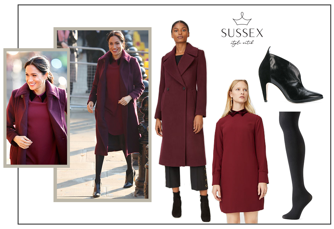 MEGHAN MARKLE WEARS BURGUNDY CLUB MONACO COAT AND DRESS TO SURPRISE VISIT HUBB COMMUNITY KITCHEN