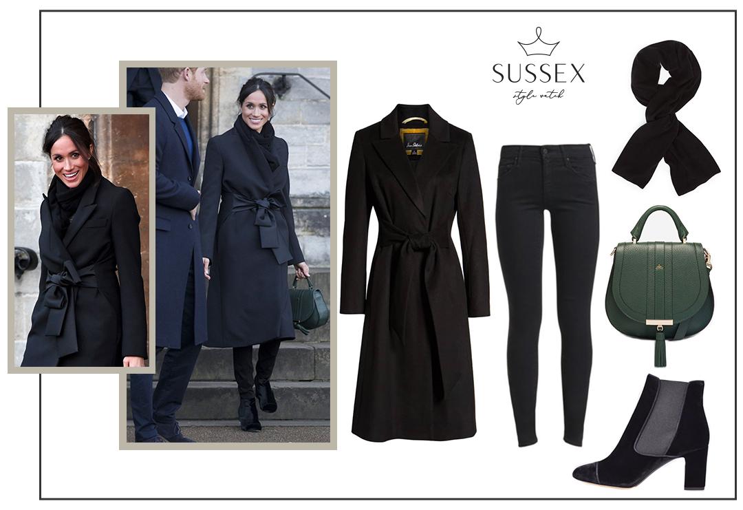 Meghan Markle Wears Demellier Bag And Stella Mccartney Coat In