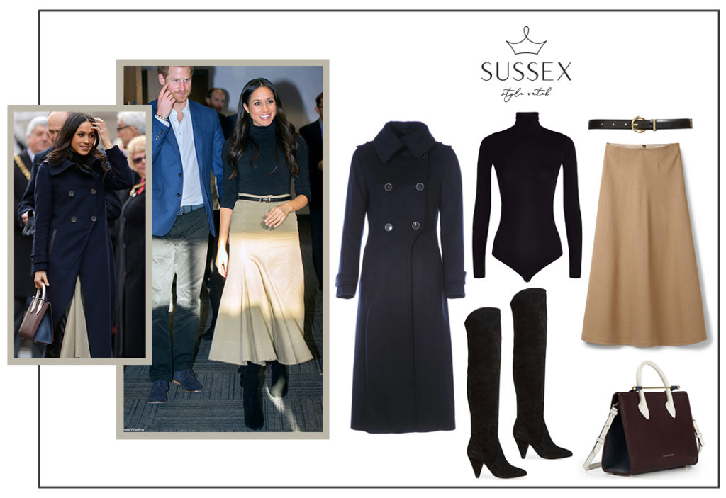 MEGHAN MARKLE WEARS MACKAGE ELODIE COAT AND KURT GEIGER VIOLET BOOTS IN NOTTINGHAM