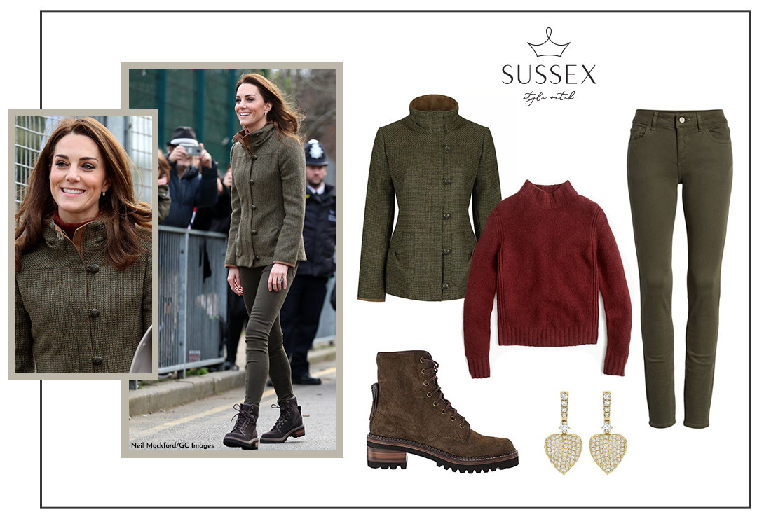KATE MIDDLETON VISITS KING HENRY'S WALK GARDEN IN DUBARRY TWEED JACKET