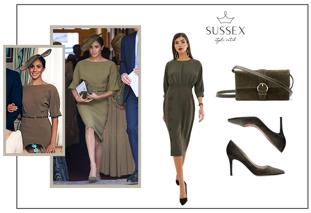 1c827dc67 MEGHAN MARKLE WEARS OLIVE GREEN RALPH LAUREN DRESS TO PRINCE LOUIS  CHRISTENING – Sussex Style Watch