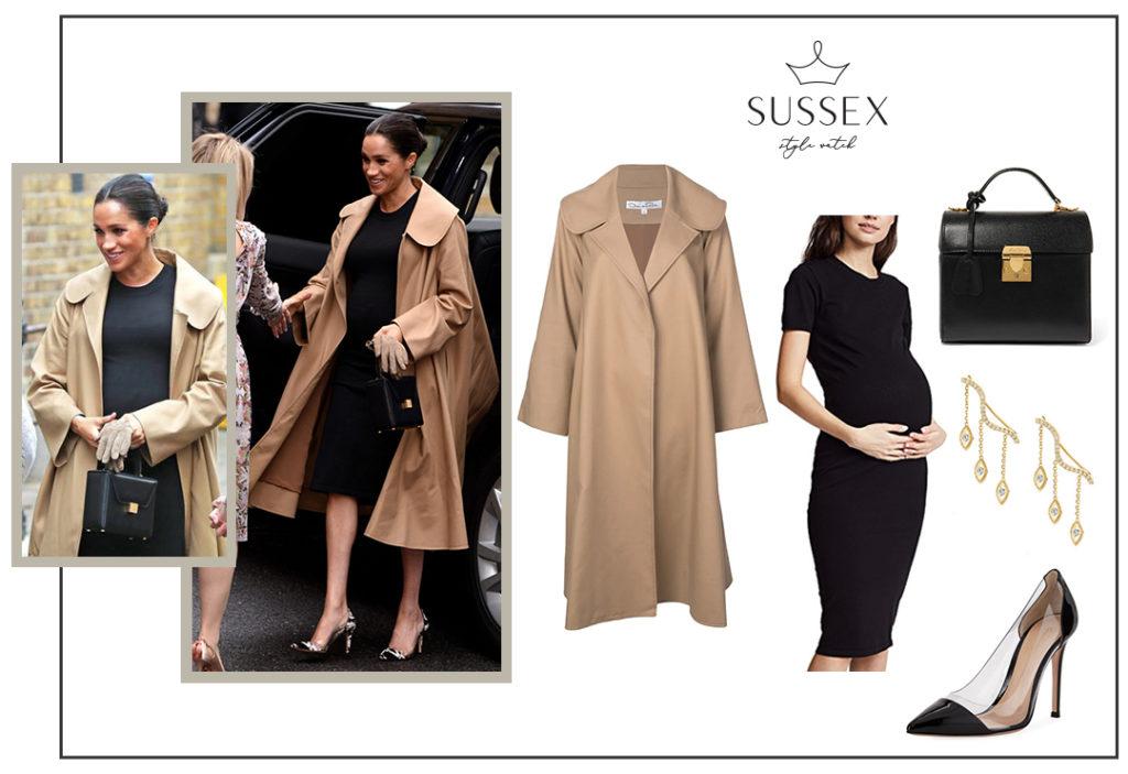 MEGHAN MARKLE WEARS HATCH ELIZA DRESS AND CAMEL OSCAR DE LA RENTA COAT TO SMART WORKS IN LONDON