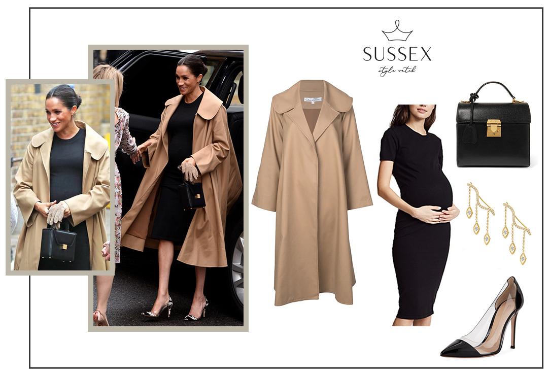MEGHAN MARKLE WEARS HATCH MATERNITY DRESS AND OSCAR DE LA RENTA COAT TO SMART WORKS IN LONDON