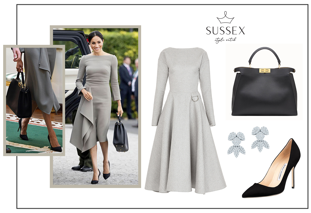 MEGHAN MARKLE WEARS GREY ROLAND MOURET DRESS IN IRELAND