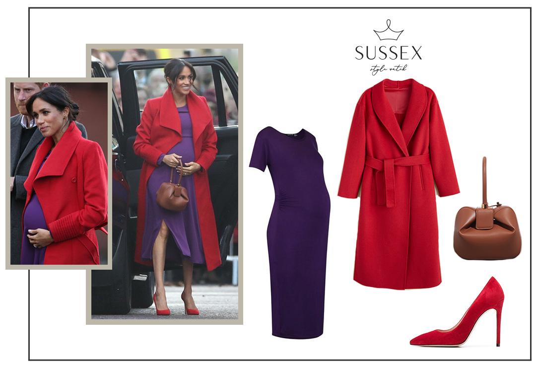 MEGHAN MARKLE WEARS RED SENALER WRAP COAT AND PURPLE ARITZIA DRESS IN BIRKENHEAD