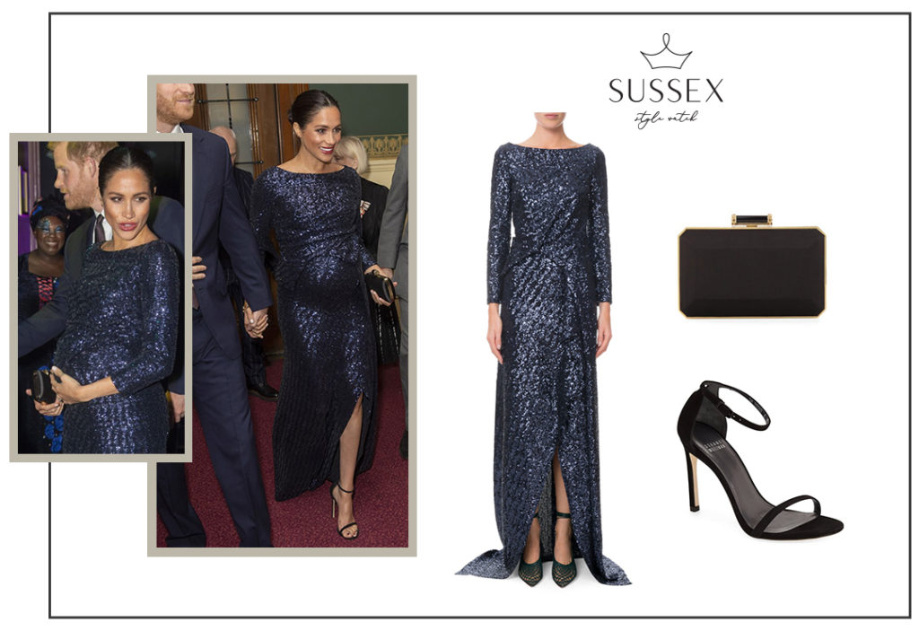 MEGHAN MARKLE WEARS NAVY SEQUIN ROLAND MOURET GOWN TO CIRQUE DU SOLEIL