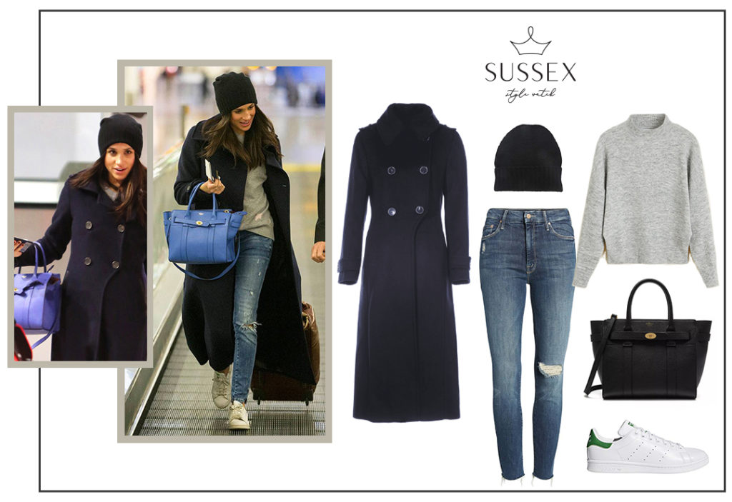 MEGHAN MARKLE'S AIRPORT STYLE // MACKAGE COAT AND STAN SMITH SNEAKERS