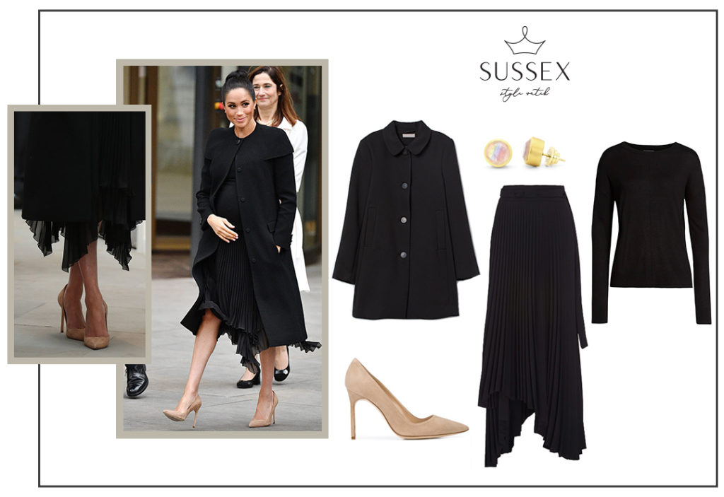 MEGHAN MARKLE WEARS GIVENCHY COAT AND PLEATED DRESS TO VISIT ASSOCIATION OF COMMONWEALTH UNIVERSITIES