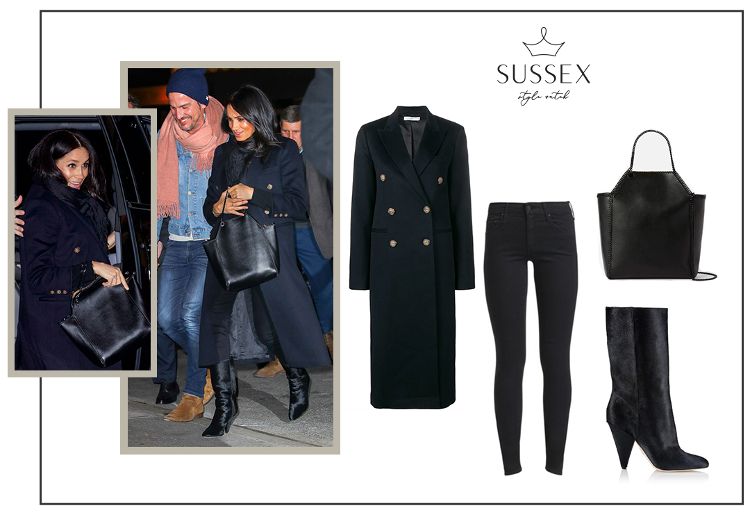 MEGHAN MARKLE WEARS VICTORIA BECKHAM COAT, STELLA MCCARTNEY BAG AND TAMARA MELLON CALF HAIR BOOTS AT THE POLO BAR IN NEW YORK CITY