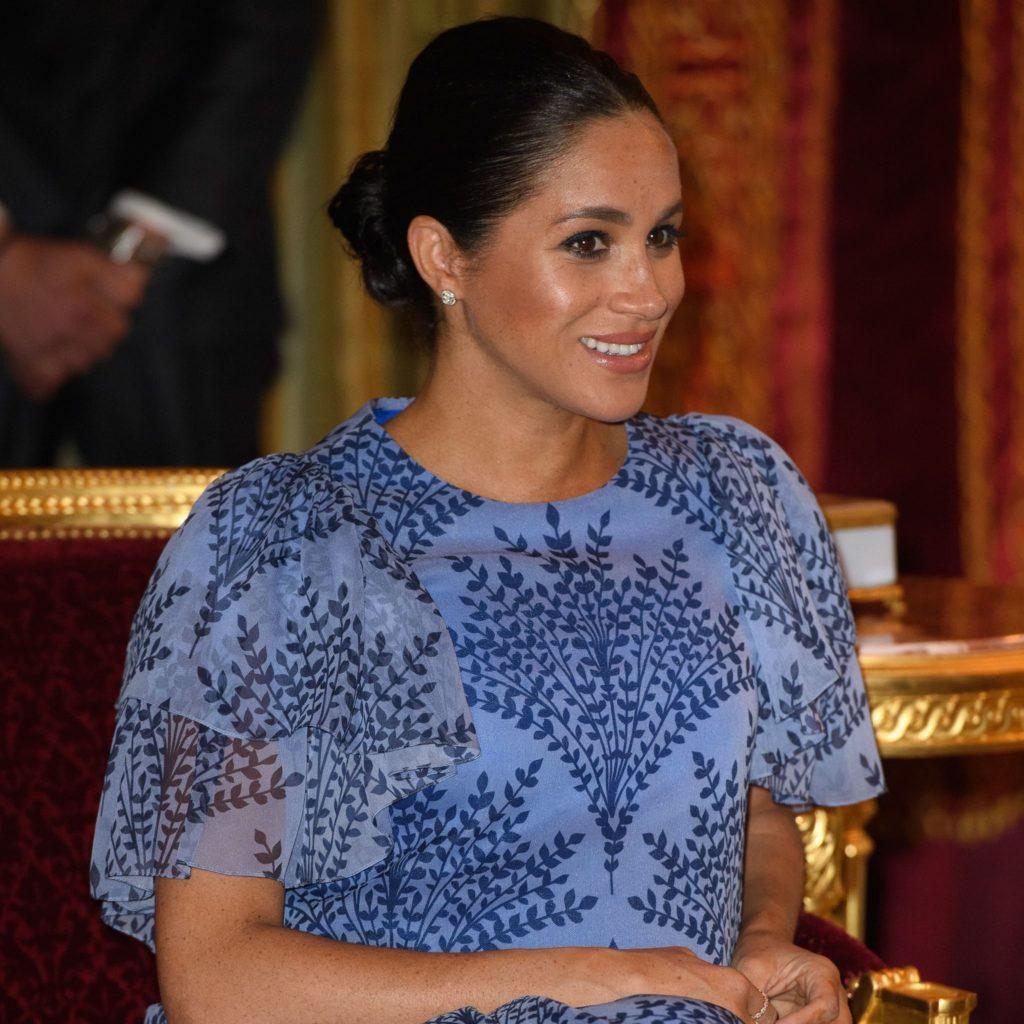 MEGHAN MARKLE WEARS CUSTOM BLUE CAROLINA HERRERA GOWN MEETING KING MOHAMMED IV IN MOROCCO
