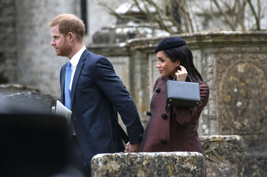 EXCLUSIVE: ** Worldwide - No UK Permitted ** ** Worldwide - No UK Permitted **  17.03.19.  The Queen and members of the British Royal Family attend the christening of Zara and Mike Tindall's second child Lena at St Nicholas Church in Cherington, Gloucestershire.  ** Worldwide - No UK Permitted ** ** Worldwide - No UK Permitted **  Pictured: Harry and Meghan the Duke and Duchess of Sussex Ref: SPL5073070 170319 EXCLUSIVE Picture by: Andrew Lloyd / SplashNews.com  Splash News and Pictures Los Angeles: 310-821-2666 New York: 212-619-2666 London: 0207 644 7656 Milan: 02 4399 8577 photodesk@splashnews.com  World Rights, No United Kingdom Rights