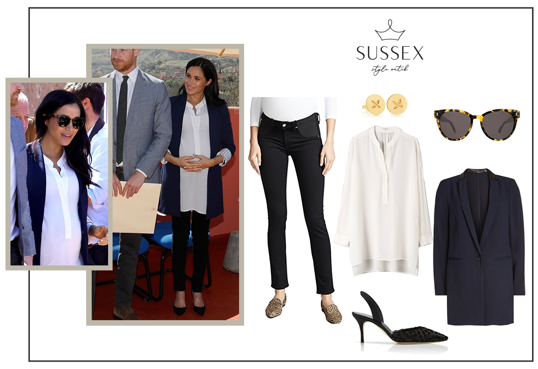 MEGHAN MARKLE WEARS NAVY ALICE + OLIVIA BLAZER AND RAG & BONE MATERNITY JEANS IN MOROCCO