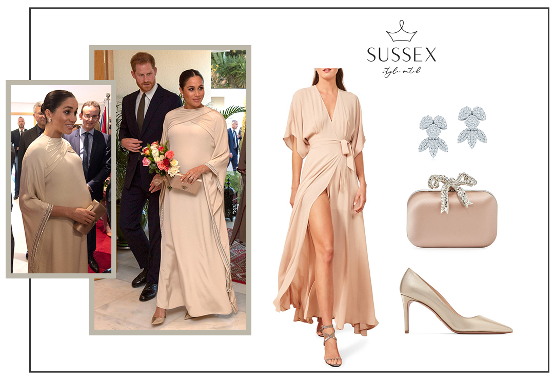 MEGHAN MARKLE WEARS CUSTOM BEIGE/NUDE DIOR GOWN FOR MOROCCO EVENING RECEPTION