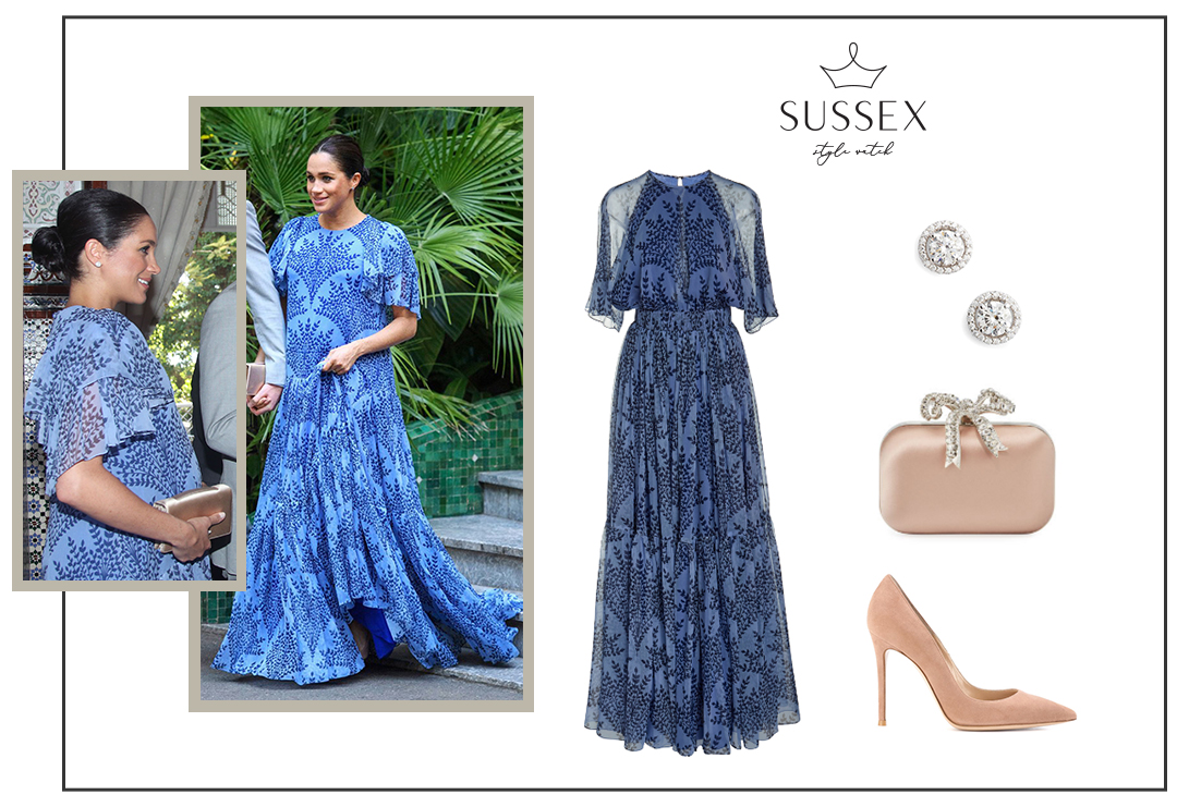 MEGHAN MARKLE WEARS CUSTOM BLUE CAROLINA HERRERA GOWN MEETING KING MOHAMMED IV IN MOROCCO