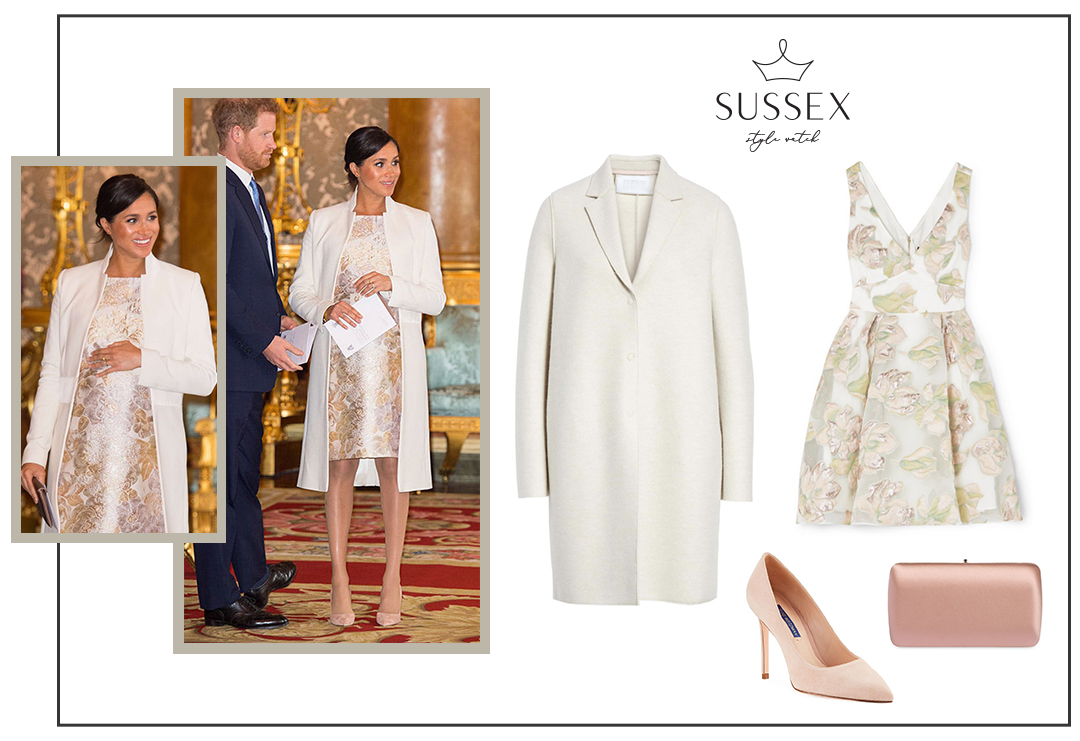 MEGHAN MARKLE WEARS AMANDA WAKELY COAT AND BROCADE SHIFT DRESS TO 50TH ANNIVERSARY OF PRINCE CHARLES' INVESTITURE