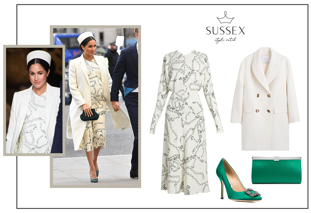MEGHAN MARKLE WEARS CHAIN PRINT VICTORIA BECKHAM DRESS FOR COMMONWEALTH DAY CHURCH SERVICE AT WESTMINSTER ABBEY
