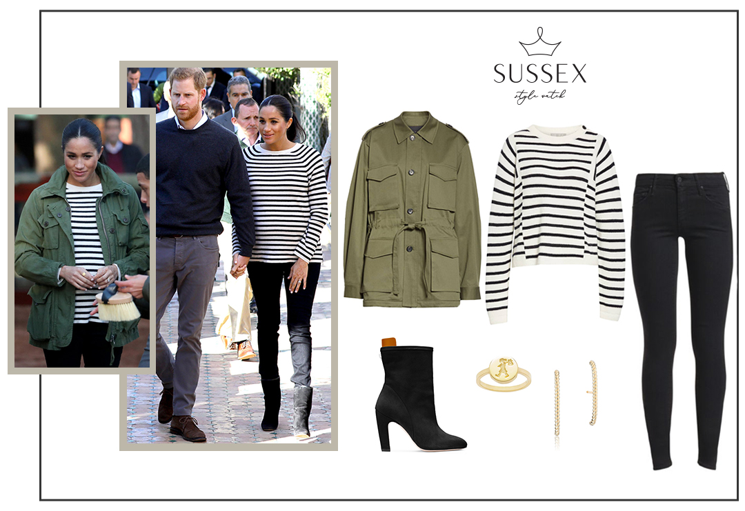 MEGHAN MARKLE WEARS OLD J.CREW UTILITY JACKET AND STUART WEITZMAN BOOTS IN MOROCCO