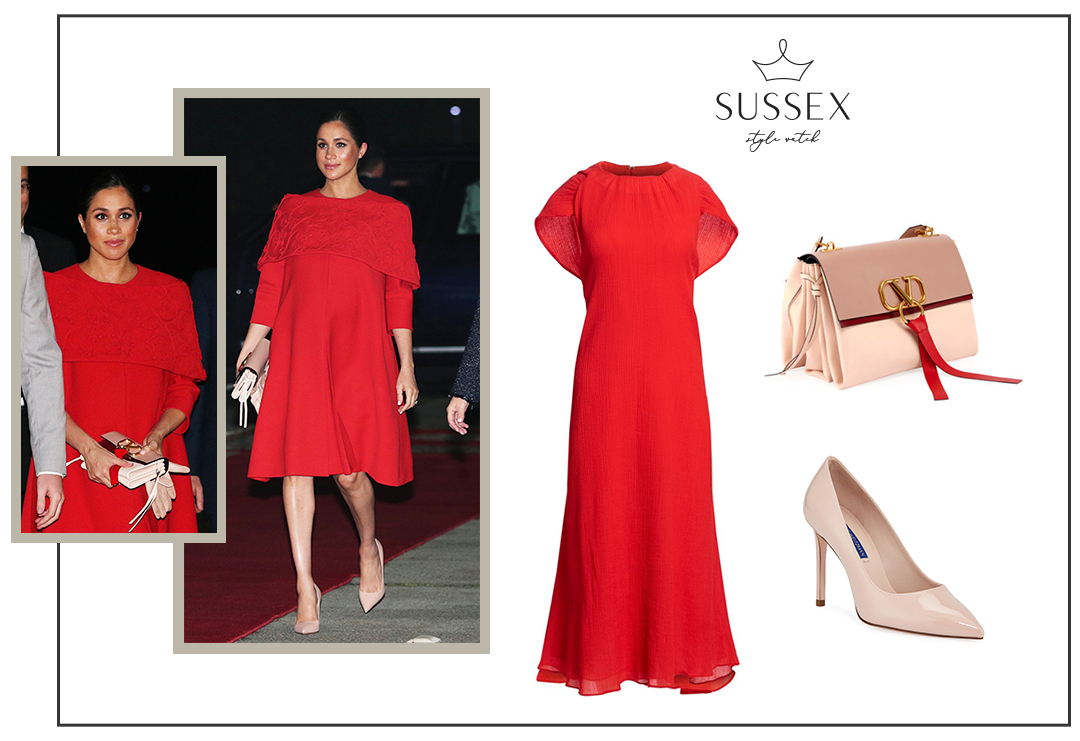 MEGHAN MARKLE WEARS RED VALENTINO CAPE DRESS AND V-RING BAG FOR FIRST ENGAGEMENT ON MOROCCO TOUR