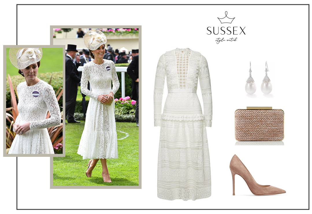 KATE MIDDLETON WEARS WHITE LACE DOLCE & GABBANA DRESS TO ROYAL ASCOT