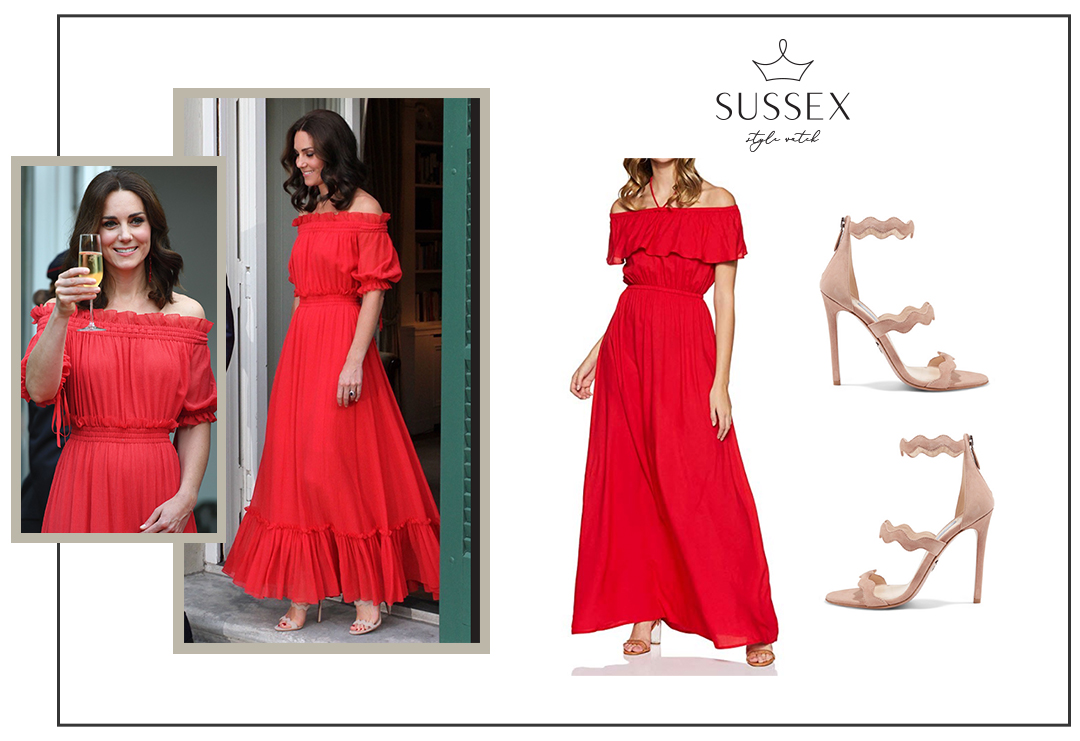 KATE MIDDLETON WEARS RED ALEXANDER MCQUEEN MAXI DRESS FOR GARDEN PARTY