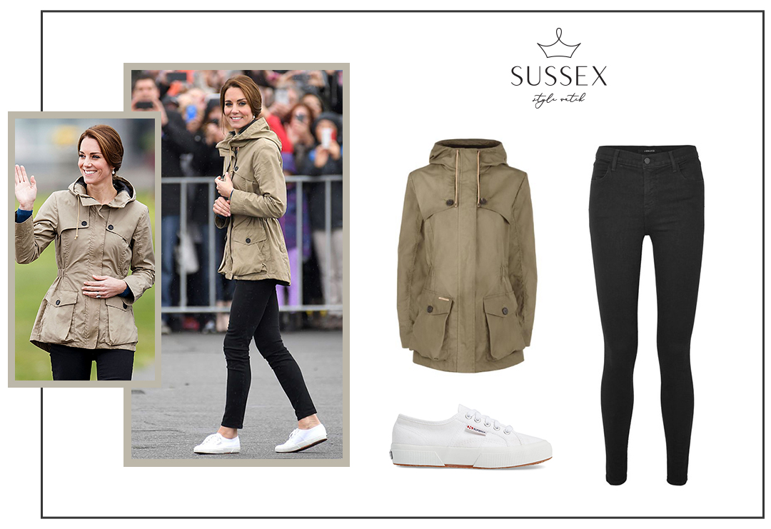 KATE MIDDLETON WEARS SUPERGA SNEAKERS AND TROY LONDON JACKET IN BRITISH COLUMBIA