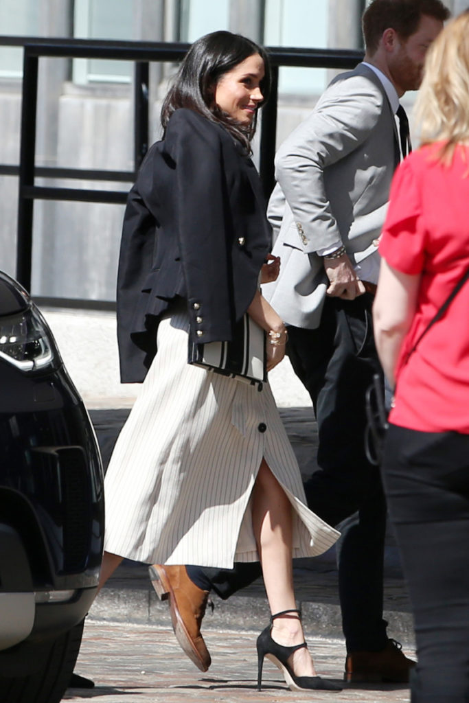 Mandatory Credit: Photo by Beretta/Sims/REX/Shutterstock (9635542b) Meghan Markle Commonwealth Youth Forum, QEII Conference Centre, London, UK - 18 Apr 2018 WEARING ALTUZARRA DRESS AND CAMILLA AND MARC BLAZER BAG BY OROTON SHOES BY TAMARA MELLON