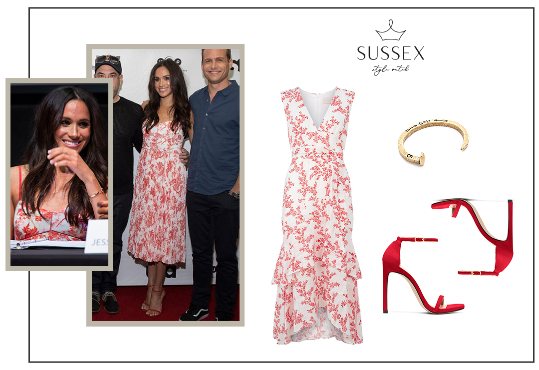 MEGHAN MARKLE WEARS RED FLORAL CLUB MONACO DRESS TO ATX TELEVISION FESTIVAL