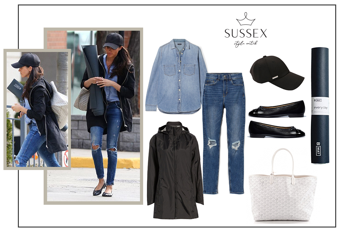 Meghan Markle in Chanel Flats, Goyard Tote, and Soia and Kyo Jacket on the way to yoga class